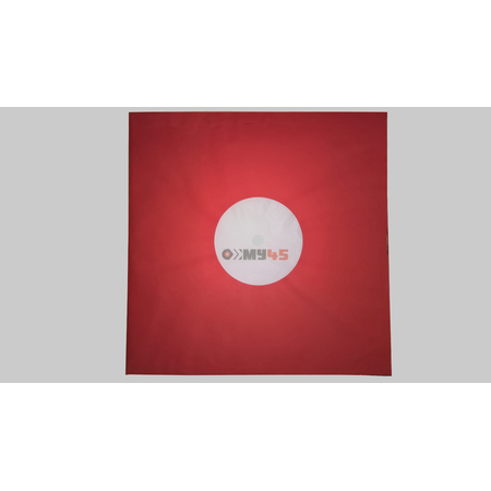 12 red poly-lined paper inner-sleeve 80 g/m² with center...
