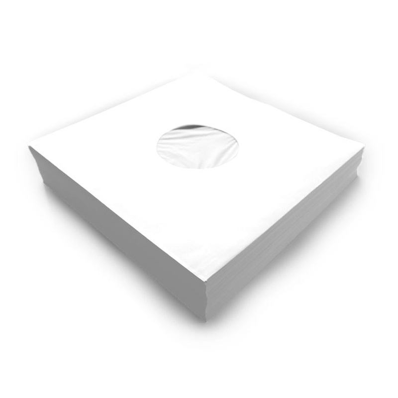 12 white poly-lined paper inner-sleeve 90 g/m² with center sight holes